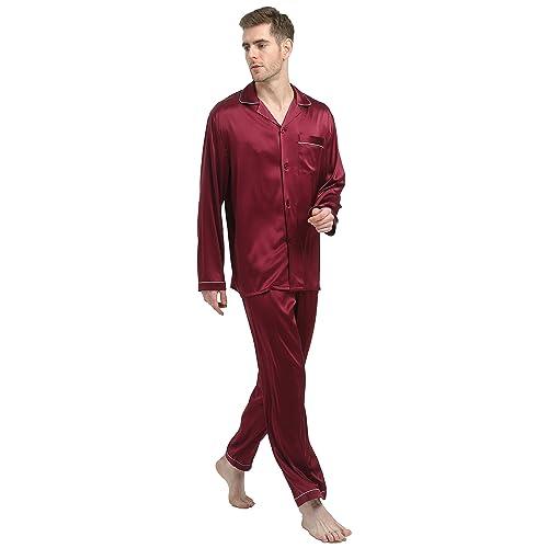 Jasmine Silk Men/'s Pure Silk Pyjamas Navy