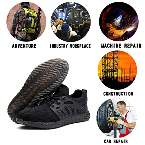 Hongchengye Steel Toe Shoes Men Women Indestructible Work Safety Toe Shoes Lightweight Breathable Construction Sneakers Outdoor Resistant Composite Toe Shoes