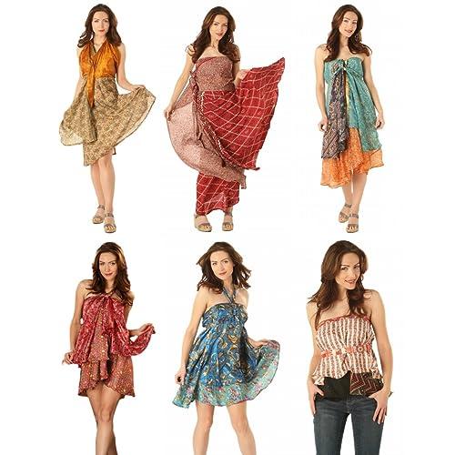 4 Pcs Vintage Wrap Skirt Indian Silk Saree Bohemian Magic Skirt 24 Inch