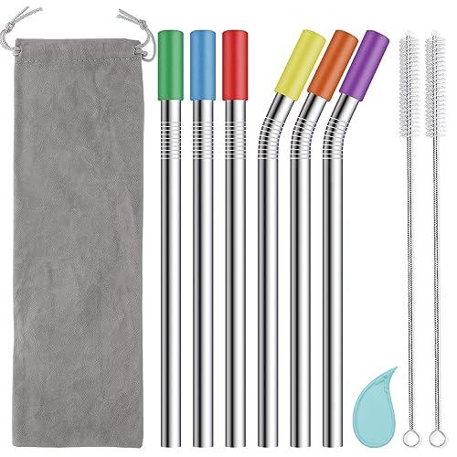 Jumbo Metal Straws Extra Wide Stainless Steel 4 Pack Reusable Travel Bag Tea