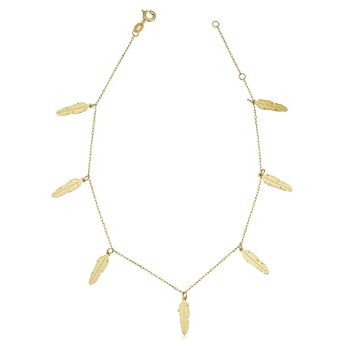 """Available in Size 9/"""" /& 10/"""" 14K Yellow Gold Figaro Link Charm Anklet Bracelet"""