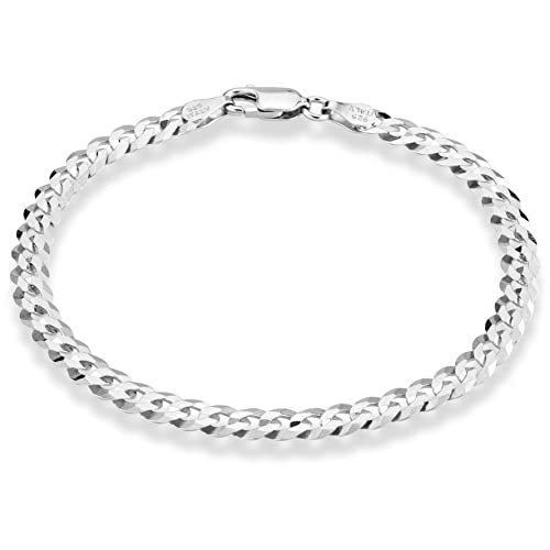 7 8 Inch Made in Italy 7.5 Miabella 925 Sterling Silver Italian 6mm Solid Bismark Mesh Link Chain Bracelet for Women 6.5