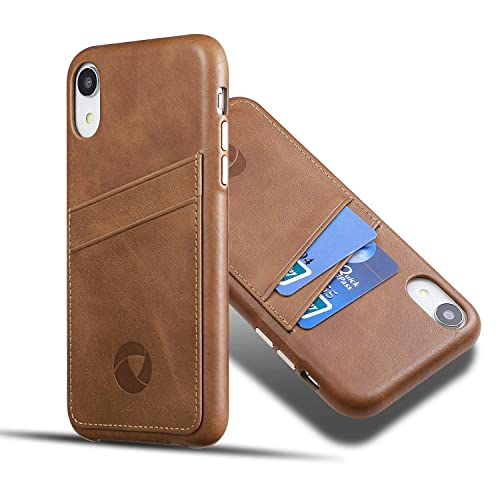Brown Dockem Virtuosa M1 Wallet Case for iPhone XR; Built-in Metal Plate Designed for Magnetic Mounting; Ultra Slim Top Grain Genuine Leather Card Case; M-Series