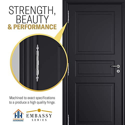 Architectural Grade Stainless Steel Removable Pin US15 Set of 2 Hinges Ball//Urn//Button Tips Included Door Hinges 4 x 4 Extruded Solid Brass Ball Bearing Brass Hinge Heavy Duty Satin Nickel