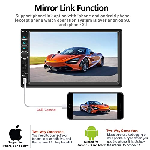 Bluetooth Audio and Calling Double Din Car Stereo,TouchScreen Car MP5//4//3 Player with Rear-View Camera,FM Radio Receiver Mirror Link,Support Steering Wheel Remote Control,Support Android /& iPhone