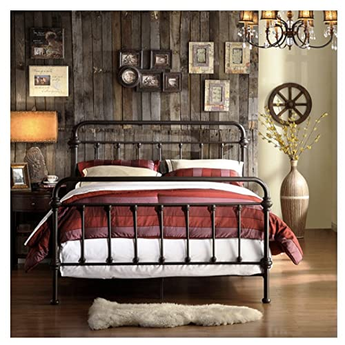 Wrought Iron Bed Frame Dark Bronze Metal Queen Size Free Shipping