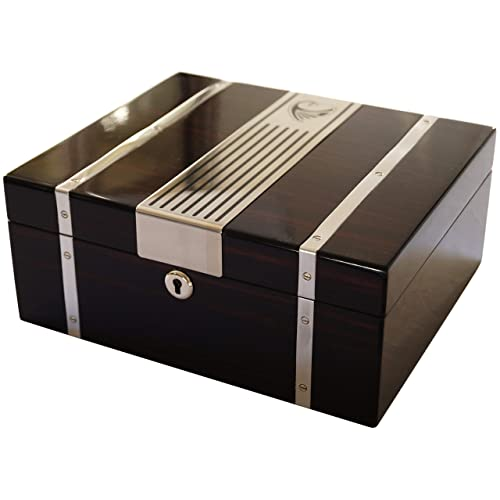 Brown GERMANUS Cigar Humidor Classic II for approx with Hygrometer and Humidifier and GERMANUS Manual 50 Cigars