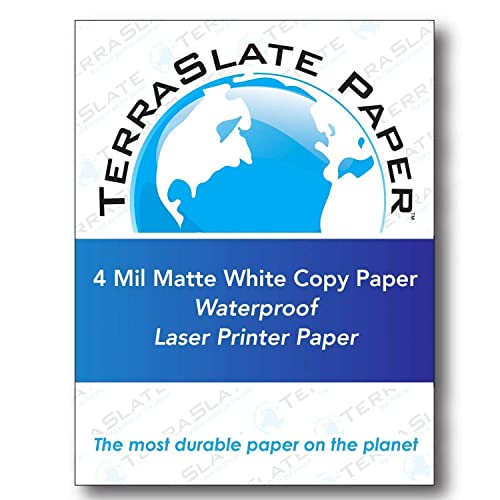 """8.5/"""" x 11/"""" Perforated 8-Up Laser SheetPack of 25 Teslin® Synthetic Paper"""