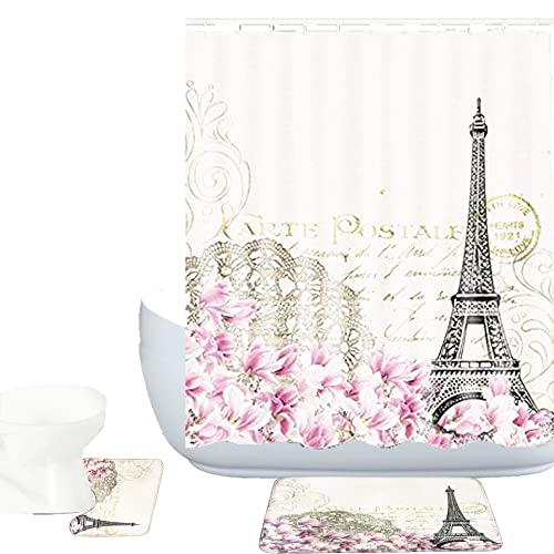 Paris Shower Curtain Eiffel Tower Vintage Print for Bathroom