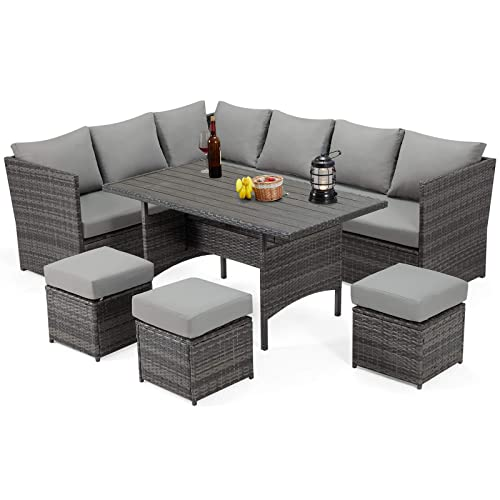 U Max 7 Pieces Patio Furniture Set, Outdoor Sectional Couch With Dining Table