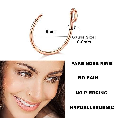 Goldenlight 10pcs 12pcs Nose Rings Hoop 20g 8mm Nose Piercing Hoop