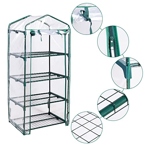 HAPPYGRILL Greenhouse Multi Tier Shelves Stands Green House for Herb and Flower