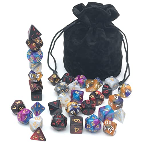 Assorted Dice Set Polyhedral With Drawstring Bag For Dungeons And Dragons RPG