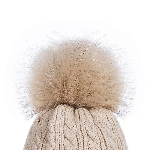 Women Ladies Soft Chenille Rib Hat Warm Teddy Fleece Liner Detachable Fur Pompom