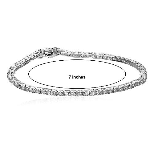 Gem Stone King 15.00 ctw 7 Inch Tennis Bracelet with Sparkling Princess Cut Cubic Zirconia Set of 3