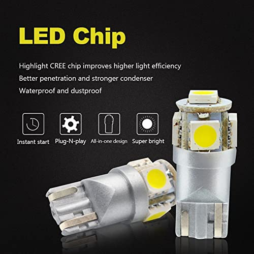 LncBoc T10 LED Bulbs 194 LED Light Bulb 6000K 168 LED Bulb W5W White Wedge Super Bright 5-SMD 5050 ChipSets for License Plate Car Dome Map Door Courtesy Lights Pack of 10