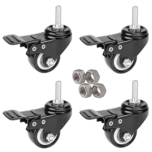 ,150 LBS Per Caster, 2 with Brake,2 Without Brake ENJUCOM 2 Swivel Caster Wheels with Safety Dual Locking Heavy Duty 600Lbs Set of 4 16 x Stainless Steel Screw 18-8 ) Size:M5X20