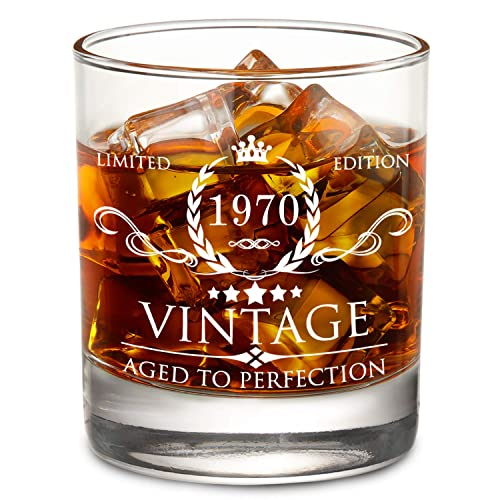 1969 50th Birthday Gifts For Men And Women Lowball Whiskey Glass Vintage Funny Anniversary Gift Ideas