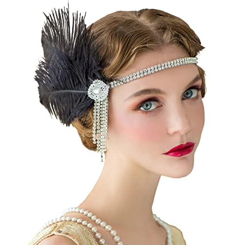 BABEYOND 1920s Flapper Headpiece Feather Headband Great Gatsby Headband 1920s Flapper Accessories Leaves Style for Art Deco Pageant Themed Party