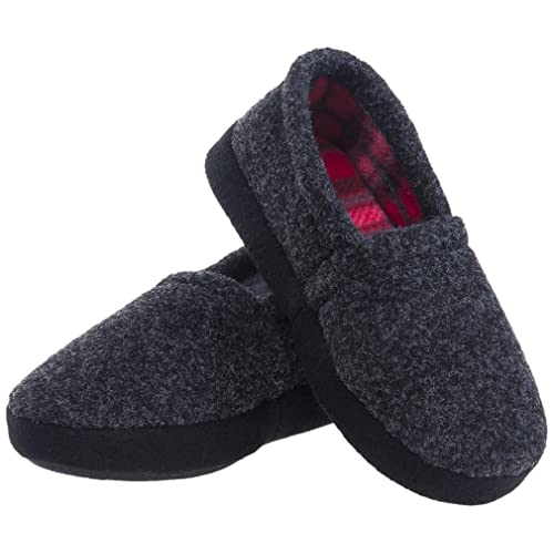 VLLY Boys//Little Kids House Winter Warm Comfy Plush Slip-on Slippers with Rubber Sole