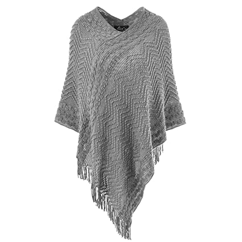 Ferand Women/'s Elegant Knitted Poncho Top with Stripe Patterns and Fringed Sides