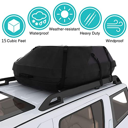 RoofPax Car Roof Bag /& Rooftop Cargo Carrier 15 Cubic Feet Heavy Duty Bag 4 Door Hooks Included 100/% Waterproof Excellent Military Quality Roof-Top Car Bag Fits All Cars with//Without Rack