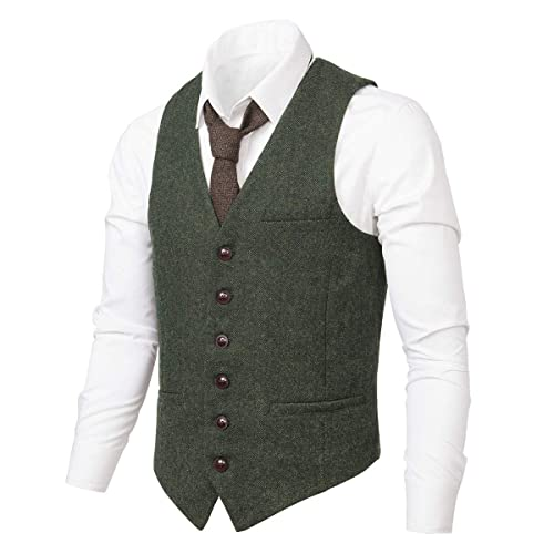 PAUL JONES Mens British Herringbone Tweed Vest Premium Wool Waistcoat