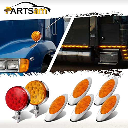 Grommet and Pigtails Included 4Red + 4Amber 2.5 Round Trailer Marker Lights Partsam 8Pcs 2.5 Round LED Side Marker Lights 13 Diodes for RV Trailer Trucks 2.5 Round Led Marker Lights-