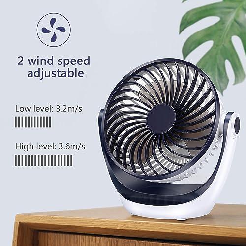 Small USB Quiet Desk Fan-Mini Personal Fan with 3 Speed,Ultra-Quiet Cooling Portable Fan for Office Desktop Room Travel Beach White