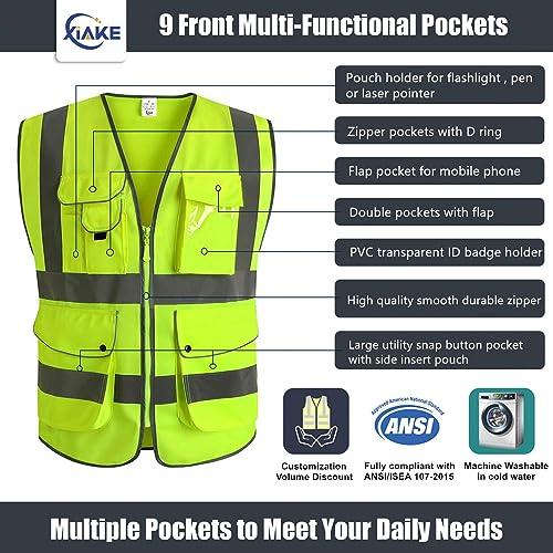 L Hycoprot Hi Vis Viz High Visibility Reflective Safety Vest Workwear Executive Manager Waistcoat Jacket Zip 2 Band Brace Security Mobile Phone Pocket ID Holder-Yellow