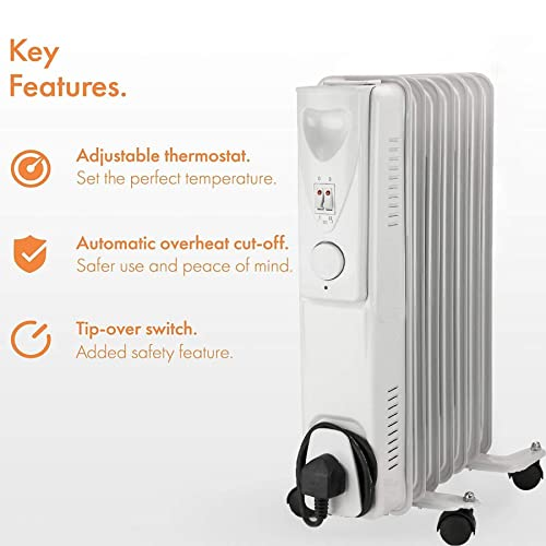 Timer and Thermostat Control Tip Over Switch Daewoo 2500W Portable Oil Filled Radiator with 11 Fins