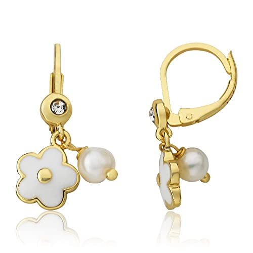 Little Miss Twin Stars Kids Earring Hypoallergenic and Nickel Free For Sensitive Ears 14k Gold-Plated Multi Color Rainbow Dangle Leverback Earring