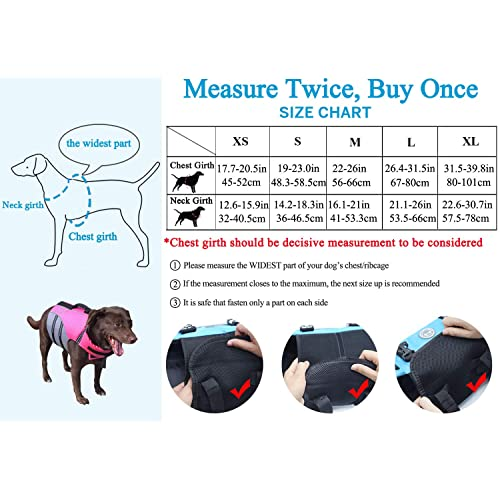 Vivaglory New Sports Style Ripstop Dog Life Jacket with Superior Buoyancy /& Rescue Handle Lake Blue L