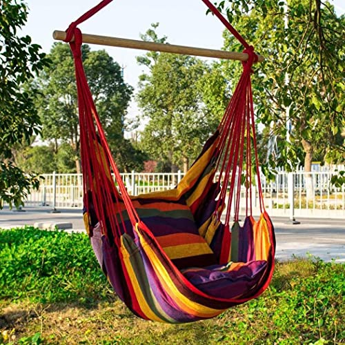 330Lbs Capacity Giantex Hammock Swing Chair with Stand Set Cotton Rope Handwoven Hanging Chair with Solid Steel Heavy Duty C Stand Outdoor Indoor Hanging Hammock Air Porch Swing Chair