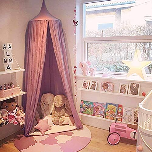 Dix-Rainbow Princess Bed Canopy Net for Kids Baby Bed Round Dome Kids Indoor Outdoor Castle Play Tent Hanging House Decoration Reading Nook Cotton Mauve Rose