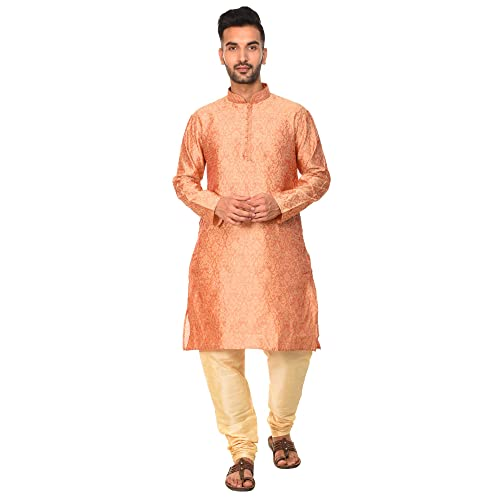 SKAVIJ Mens Tunic Indian Holi Art Silk Kurta Pajama For Wedding Dress Set