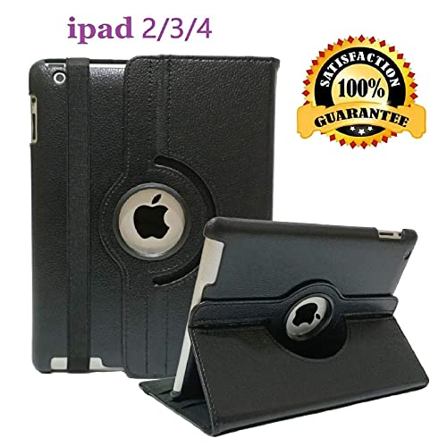 black 360-degree Swivel Leather Case Compatible with iPad® 2 the new iPad® 3