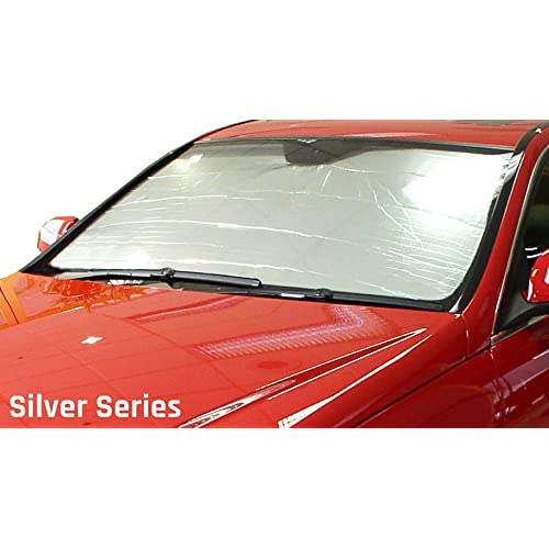 Sunshade Visor Silver /& Grey 1-pc Set Compatible With 2013-2019 Ford Fusion Tuningpros SS-109 Custom Fit Car Windshield Sun Shade Protector