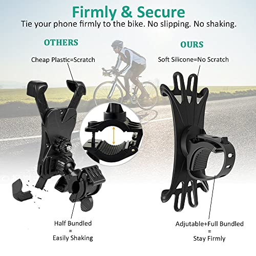 Compatible for iPhone 11 Pro MAX//XR//X//XS//8//7,4 to 6.5 Smartphone Universal Bicycle Mobile Phone Holder,360/° Rotation Adjustable Silicone Holder Mount