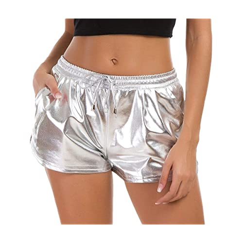 Women/'s Metallic Shorts Elastic Waist Dolphin Cut Shiny Holographic Yoga Pants