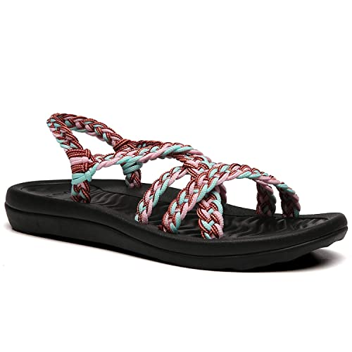 EAST LANDER Womens Comfortable Flat Walking Sandals with Arch Support Waterproof for Walking//Hiking//Travel//Wedding//Water Spot//Beach.