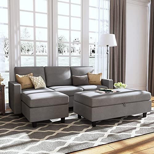 Honbay Grey Sectional Couch With, Grey Sectional Sofa Bed