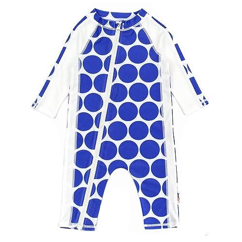 SwimZip Baby Boy Zipper Long Sleeve Rash Guard Swimsuit Set Zoo Animal Blue