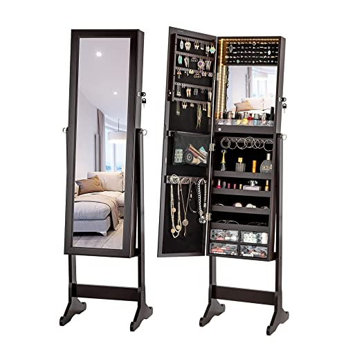Buy Luxfurni Led Light Jewelry Cabinet Standing Mirror Makeup Lockable Armoire Large Storage Organizer W Drawers Espresso Online In Taiwan B07nknygr2