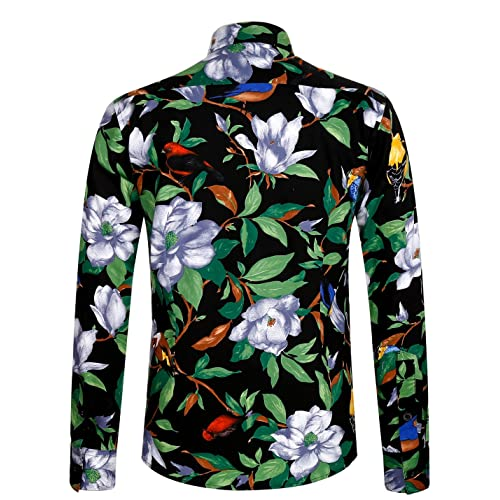 fohemr Mens Flower Shirt Casual Printed Shirt Cotton Long Sleeve Button Down Floral Dress Shirts