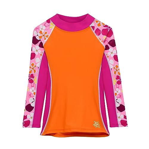 Tuga Girls Long Sleeve Rash Guards 1-14 Years UPF 50 Sun Protection Swim Shirt