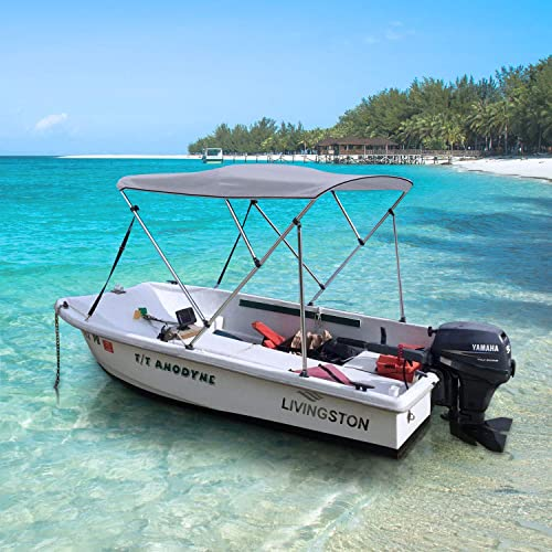 "W// BOOT /& REAR POLES BIMINI TOP BOAT COVER TAN 3 BOW 72/""L 46/""H 67/""-72/""W"