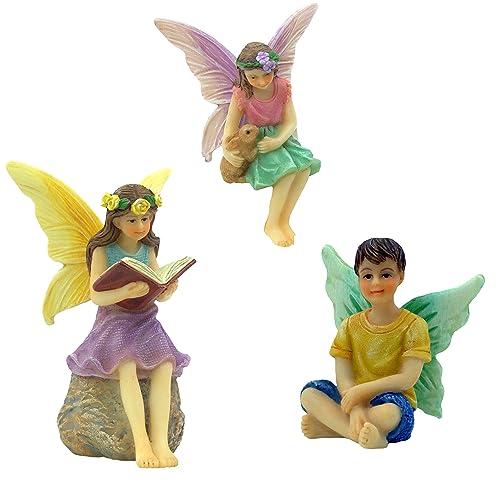 4 Pieces 2 Miniature Fairy Figurines /& Swing Set PRETMANNS Fairy Garden Accessories Kit