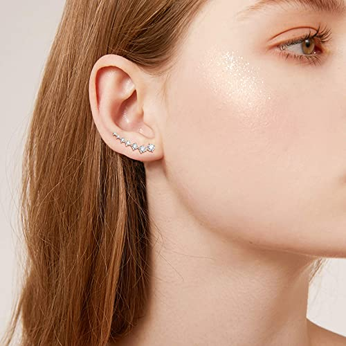 Finreizo 6 Pairs Crystal Climber Earrings for Women Ear Cuffs Hoop Stud Ear Climber Jackets Hypoallergenic