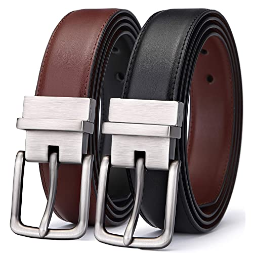 uxcell Mens Jeans Belt with Solid Pin Buckle Classic Style Black Brown